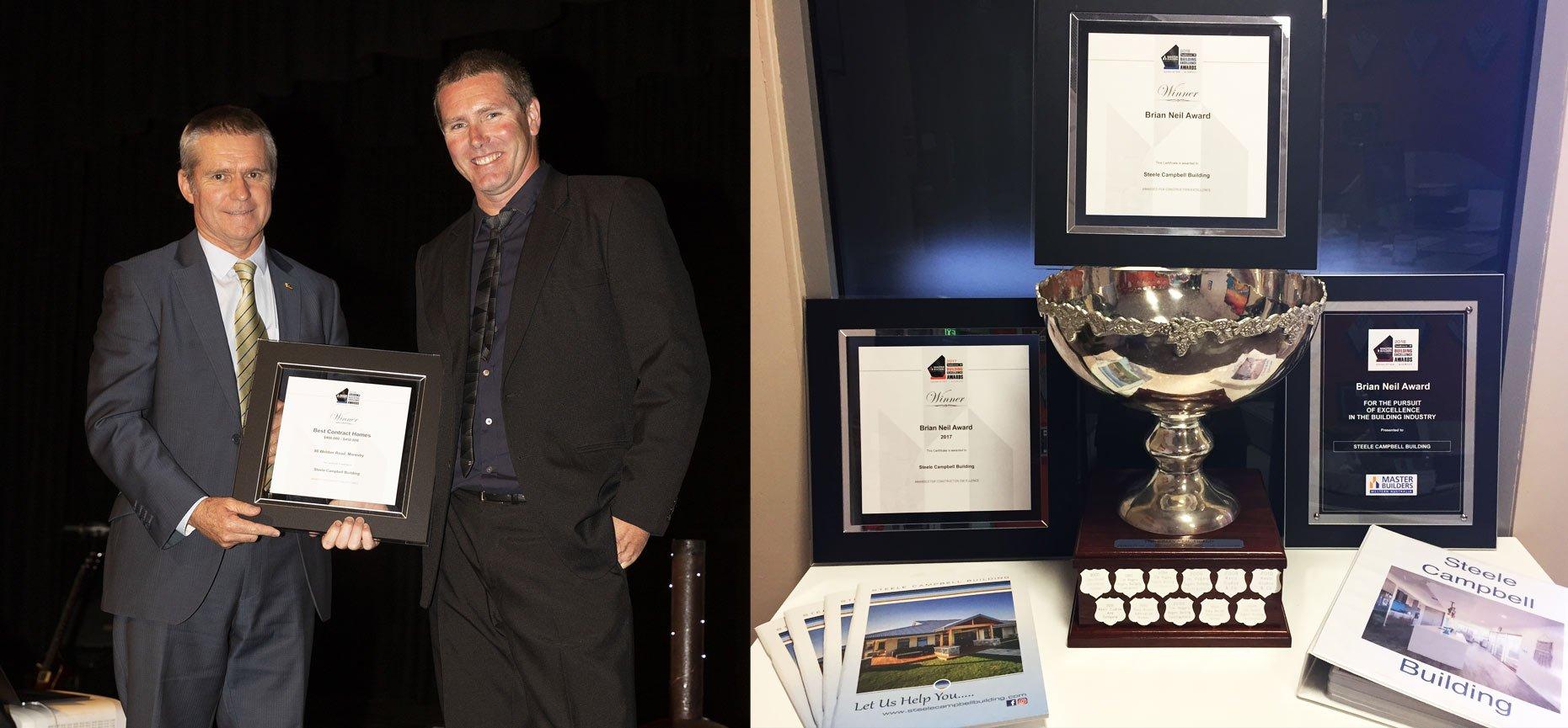 Geraldton Builder Aaron Campbell accepting an award
